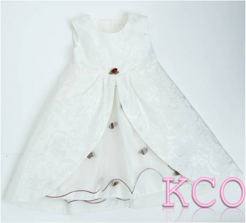 Five Layer Dress Cream/Wine ~ girls dress